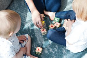 Ofsted registered childminder teaches children using blocks